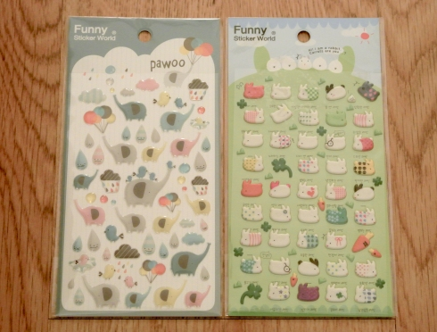 elephant and bunny stickers