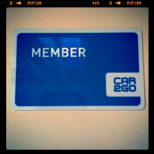 Our Car2Go membership card arrived in the post after we came back from PDX.